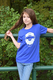 Kid's Full Count royal blue, short sleeve, crew neck tee, t-shirt with white design of baseball catcher's mask and the word USA in the top section of the image. A pair of socks will be donated to a featured shelter through our Buy One, Give a Pair program. Uniquely American Clothing that Matters. Common Interest Clothing