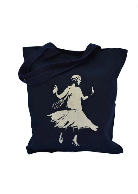 Golden Age black cotton canvas library bag with gold shimmer design of a dancing female flapper. Uniquely American Clothing that Matters.