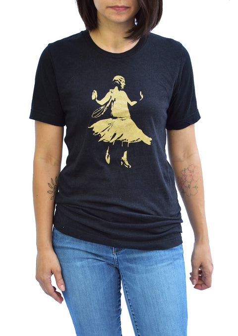 Golden Age short sleeve crew neck black heather tee with gold shimmer ink design of female flapper dancing. Uniquely American Clothing that Matters.