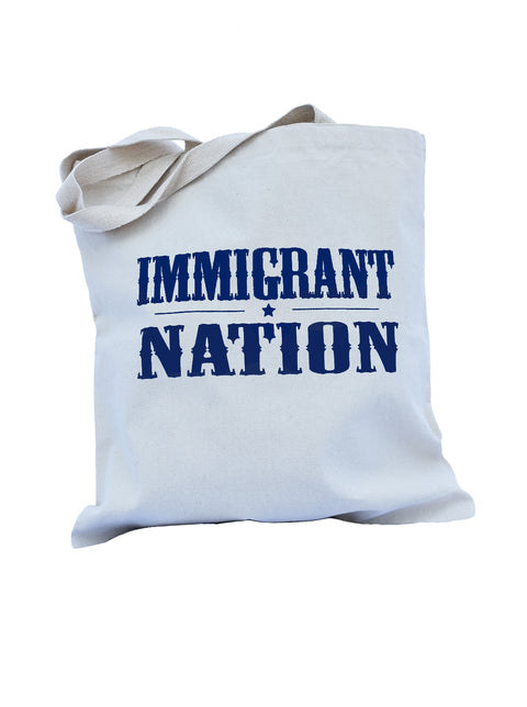 Immigrant Nation natural cotton canvas library bag with navy ink. Uniquely American Clothing that Matters.