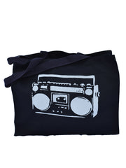In Stereo black cotton canvas gusset shopping bag with gray ink boom box printed on the front. Uniquley American Clothing that Matters.
