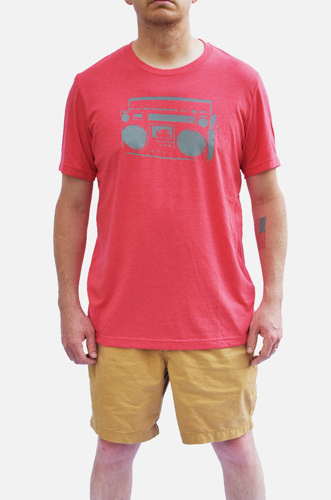 In Stereo heather red short sleeve tee with gray ink of boom box. Uniquely American Clothing that Matters.