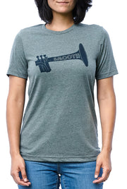Jazz Age deep heather gray, short sleeve, crew neck tee, t-shirt with navy hand-printed design of a trumpet with the word Smooth horizontal in the trumpet. A pair of socks will be donated to a featured shelter through our Buy One, Give a Pair program with every item purchased. Common Interest Clothing.