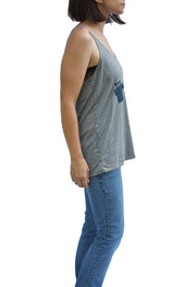 Jazz Age Flowy Tank Top in gray triblend with navy design of a trumpet. Uniquely American Clothing that Matters.
