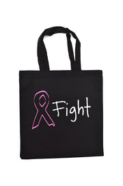 Joanne black canvas library bag with white and pink hand printed design of an awareness ribbon and the word fight. Donation goes to the National Breast Cancer Foundation. Buy One Give a Pair donation of socks to a featured shelter with every item sold. Common Interest Clothing