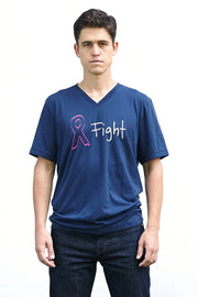 Joanne navy, short sleeve, v-neck tee, t-shirt with white and pink hand printed design of an awareness ribbon and the word fight. Donation goes to the National Breast Cancer Foundation. Buy One Give a Pair donation of socks to a featured shelter with every item sold. Common Interest Clothing