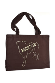 Lennox chocolate canvas gusset bag with cream hand printed design of Lennox the dog with the word Rescue inside the image. Donation goes to the ASPCA. Buy One Give a Pair donation of socks to a featured shelter with every item sold. Common Interest Clothing