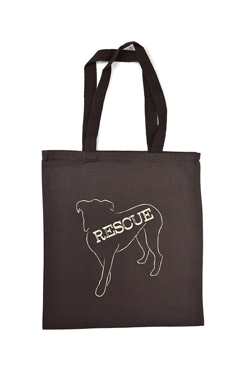 Lennox chocolate canvas library bag with cream hand printed design of Lennox the dog with the word Rescue inside the image. Donation goes to the ASPCA. Buy One Give a Pair donation of socks to a featured shelter with every item sold. Common Interest Clothing