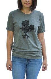Lights, Camera, Action short sleeve tee with black ink vintage video camera on front. Uniquely American Clothing that Matters.