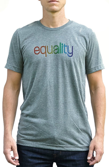 Love deep heather gray, short sleeve, crew neck tee, t-shirt with rainbow color blended hand-print of the word equality for LGBTQ equality. Donation goes to The Trevor Project. Buy One Give a Pair donation of socks to a featured shelter with every item sold. Common Interest Clothing