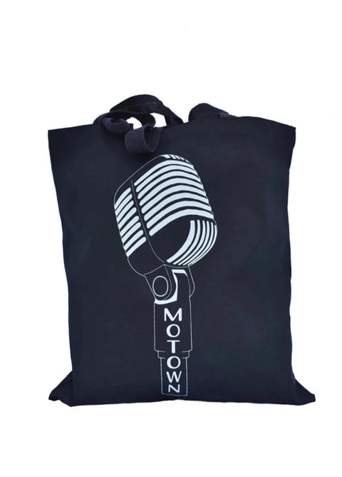 Motown black cotton canvas library shopping bag with light gray microphone with the words Motown. Uniquely American Clothing that Matters.