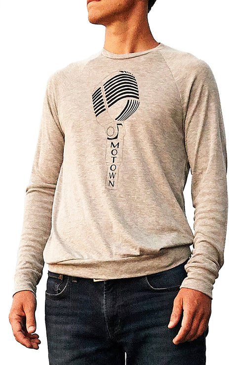 Motown athletic heather lightweight sweater with black hand-printed design of a microphone and the word Motown vertical in the handle. A pair of socks will be donated to a featured shelter through our Buy One, Give a Pair program with every item purchased. Common Interest Clothing.