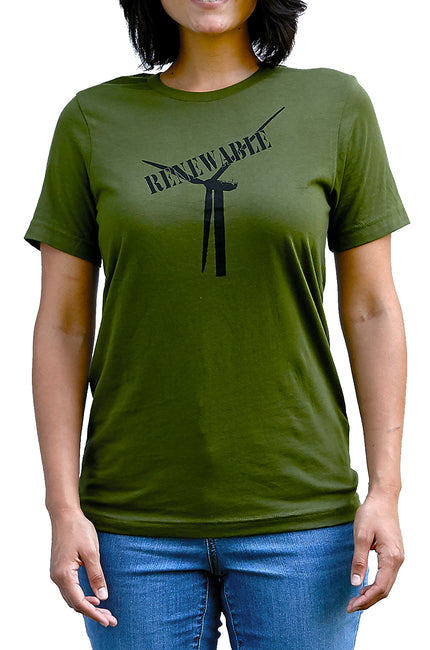 Renewable olive, short sleeve, crew neck tee, t-shirt with black hand-printed design of wind turbine with a stamp of the word renewable over top. Donation goes to the National Geographic Society. Buy One Give a Pair donation of socks to a featured shelter with every item sold. Common Interest Clothing