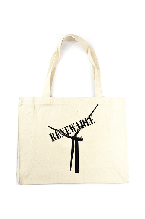 Renewable natural canvas gusset bag with black hand-printed design of wind turbine with a stamp of the word renewable over top. Donation goes to the National Geographic Society. Buy One Give a Pair donation of socks to a featured shelter with every item sold. Common Interest Clothing