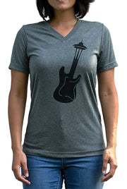 Seattle Sound deep heather gray, short sleeve, v-neck tee, t-shirt with black hand-printed design of a guitar turning into the Seattle Space Needle. A pair of socks will be donated to a featured shelter through our Buy One, Give a Pair program with every item purchased. Common Interest Clothing.