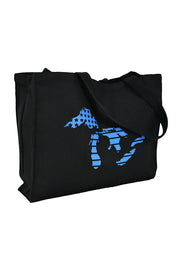 The Great Lakes black canvas gusset bag with aqua hand-printed design of the Great Lakes with the American flag as the background. A pair of socks will be donated to a featured shelter through our Buy One, Give a Pair program. Common Interest Clothing.