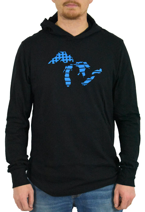 The Great Lakes black heather, long sleeve, hoodie tee, t-shirt with light blue hand-printed design of the Great Lakes with the American flag as the background. A pair of socks will be donated to a featured shelter through our Buy One, Give a Pair program. Common Interest Clothing.