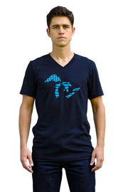 The Great Lakes black heather, short sleeve, v-neck tee, t-shirt with light blue hand-printed design of the Great Lakes with the American flag as the background. A pair of socks will be donated to a featured shelter through our Buy One, Give a Pair program. Common Interest Clothing.