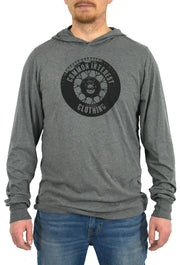 Tread deep heather gray, long sleeve, hoodie tee with black hand-printed design of a tire and the words Common Interest Clothing as the logo. A pair of socks will be donated to a featured shelter through our Buy One, Give a Pair program with every item purchased. Common Interest Clothing.
