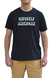Uniquely American black heather short sleeve, crew neck tee with white ink. Uniquely American Clothing that Matters.