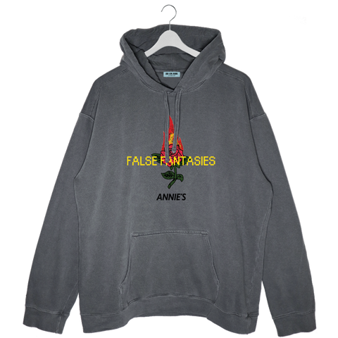 FALSE FANTASIES HOODIE WASHED DARK GREY