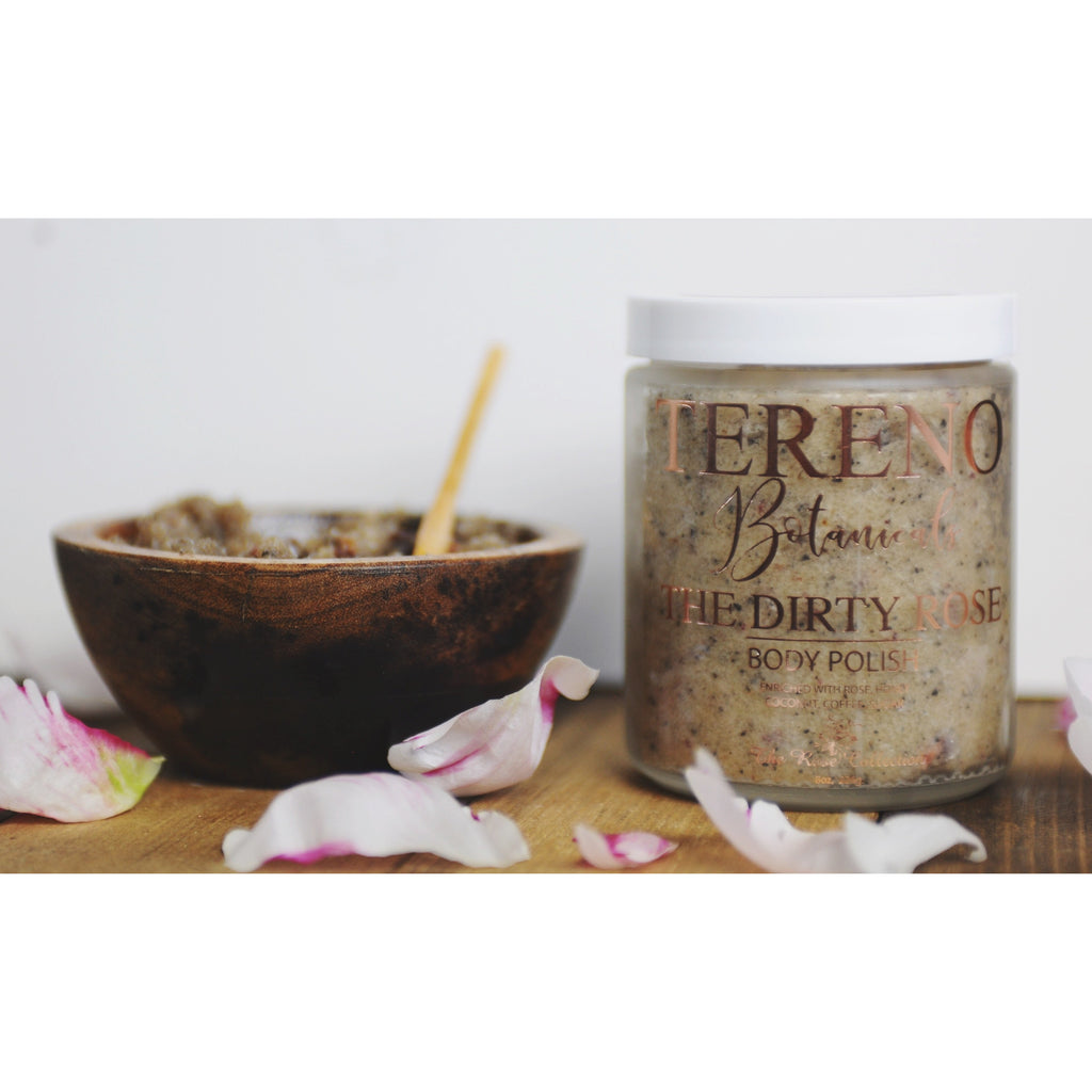 The Dirty Rose Body Polish, 8 oz Glass Jar: All-Natural Sugar Scrub With Rose, Honey, Coconut And Coffee - Tereno Botanicals