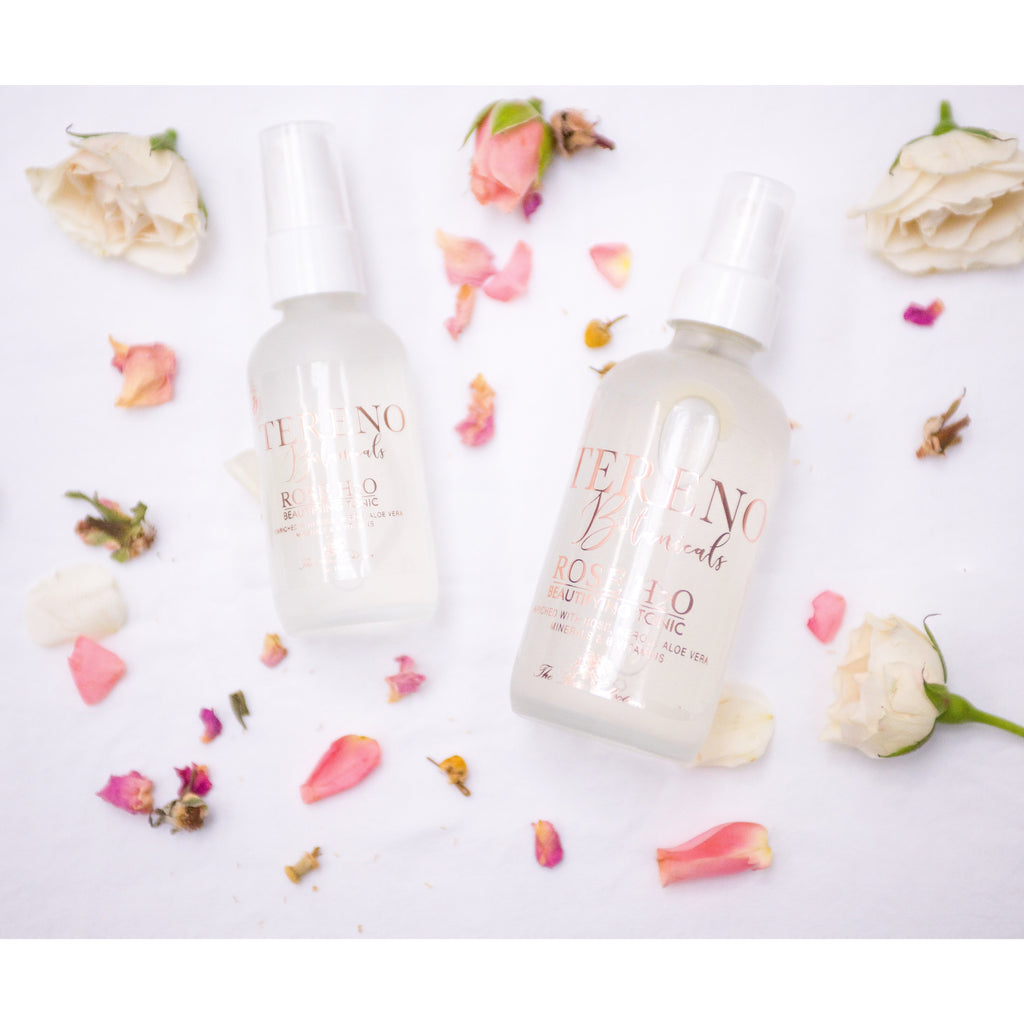 Beauty shot of Rose H2O Beautifying Tonic natural face product from Tereno Botanicals.