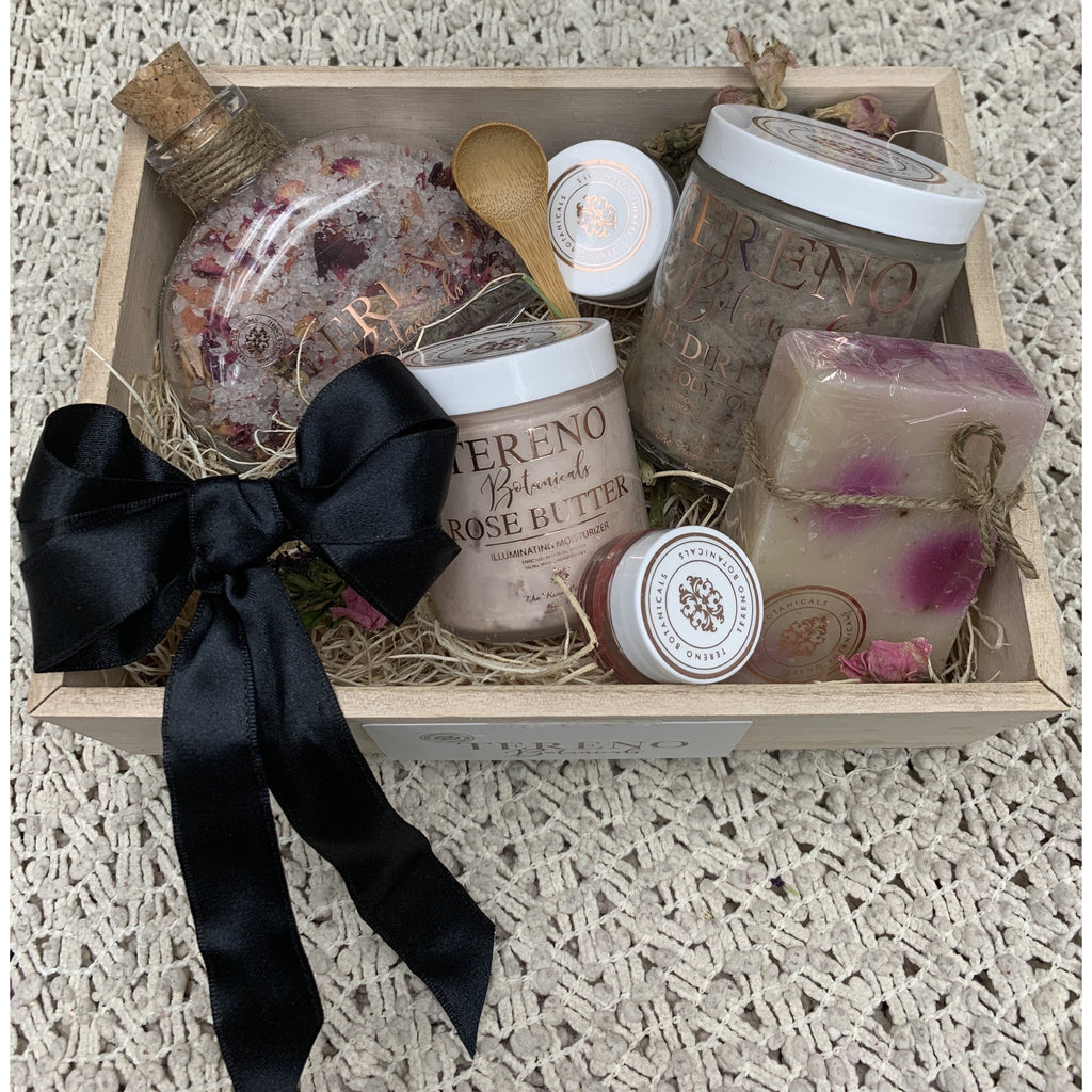 Rustic gift box of natural body products in the Rose Collection Set from Tereno Botanicals.