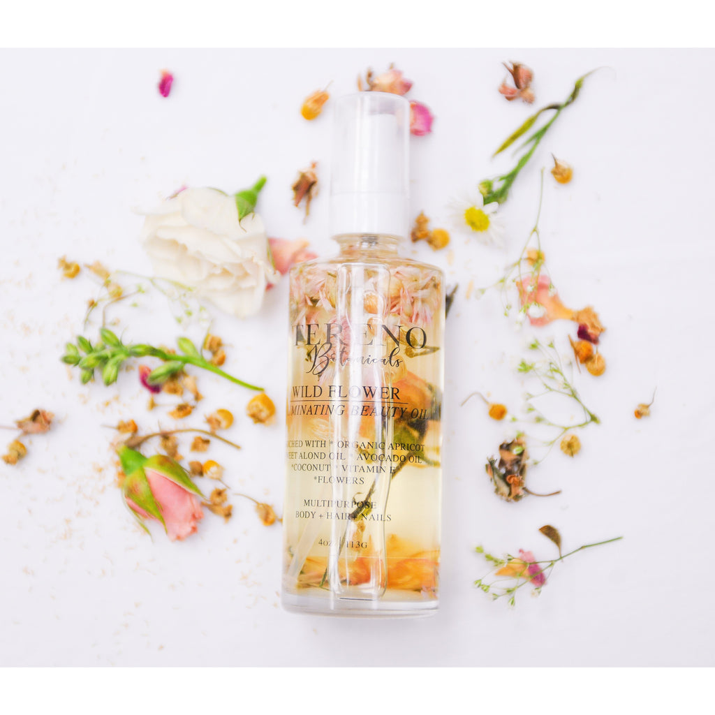 Wild Flower Illuminating Hair Oil 4 oz Glass Bottle: Handcrafted, Organic, Vegan Hair Oil Made With Argan Oil And Vitamin E - Tereno Botanicals