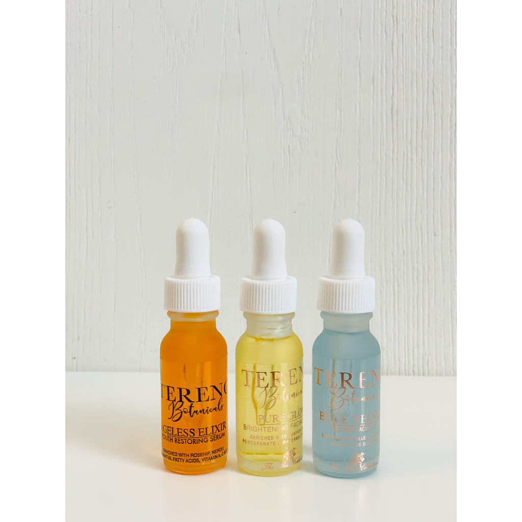 Travel Size Mini Facial Oil Trio For Daily Skincare Routine: Moisturizing, All-Natural Facial Oils Containing Vitamins And Essential Oils - Tereno Botanicals