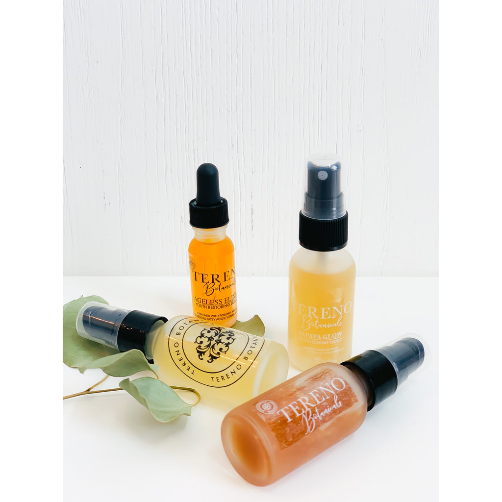 Mini Papaya Glow Set, 1 oz Glass Bottles: Diminish Hyperpigmentation, Age Spots, And Blemishes | Made With Willow Bark And Papaya Extract - Tereno Botanicals