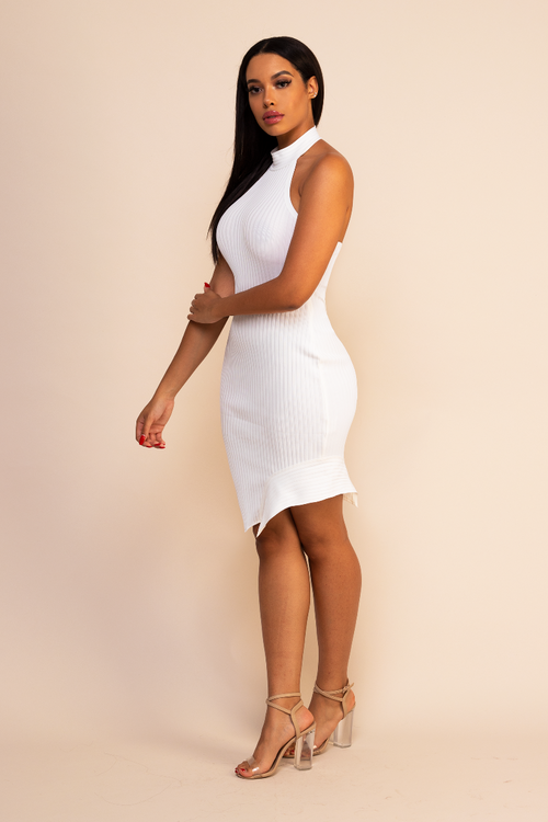 White High Neck Dress Carmella Noche Blanca
