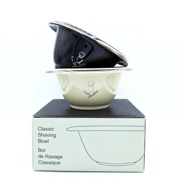 Purebadger Collection Shaving Bowl, Porcelain with Silver Rim (Black/Cream) - hipstor inc.