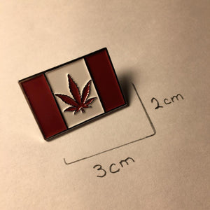 Canadian Flag Enamel Pin with Weed Leaf - hipstor inc.
