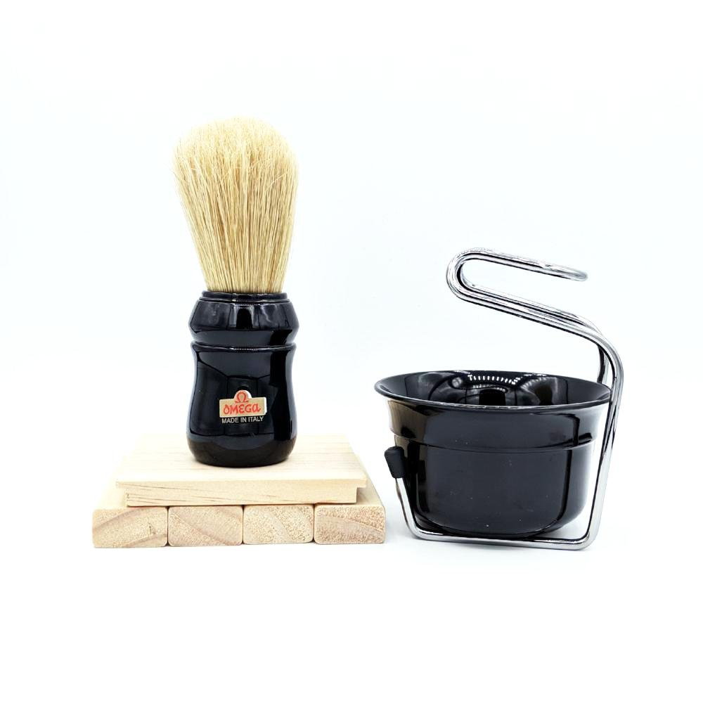 Omega Professional Brush Set includes Stand and Bowl- BLACK - hipstor inc.