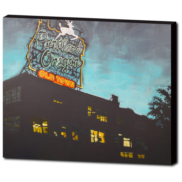 Portland Oregon Sign, Gallery Wrapped Canvas Print