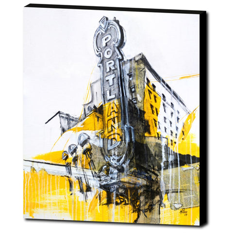 Portland Sign with Newsprint, Gallery Wrapped Canvas Prints