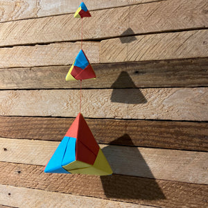 Triangle mobile origami, red yellow and blue