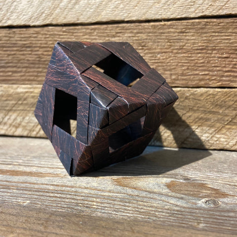 Modular cube in brown fur paper origami