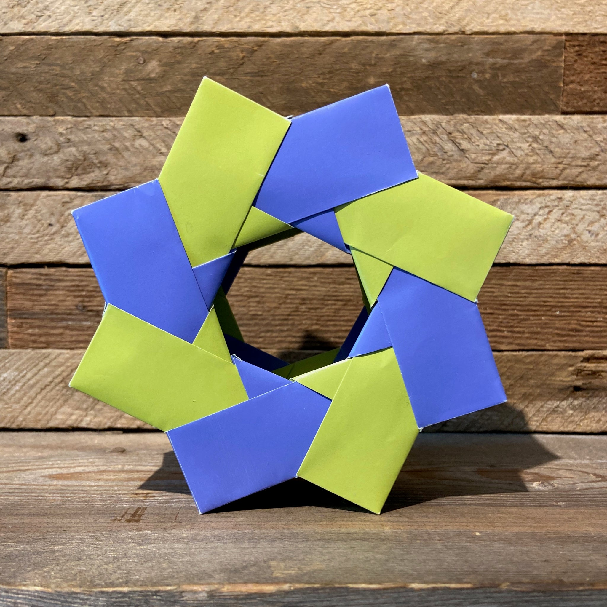 3D pinwheel origami in purple & green