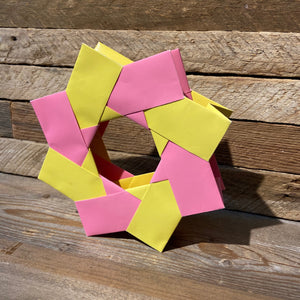 3D pinwheel origami in pink & yellow