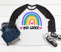 2nd Grade School Rainbow-Raglan