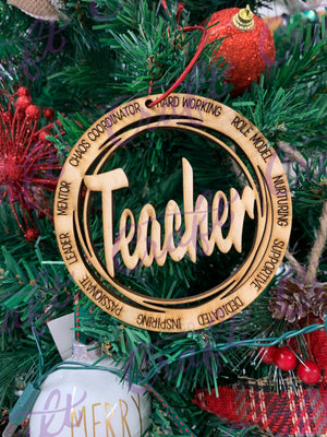 Teacher wood ornament