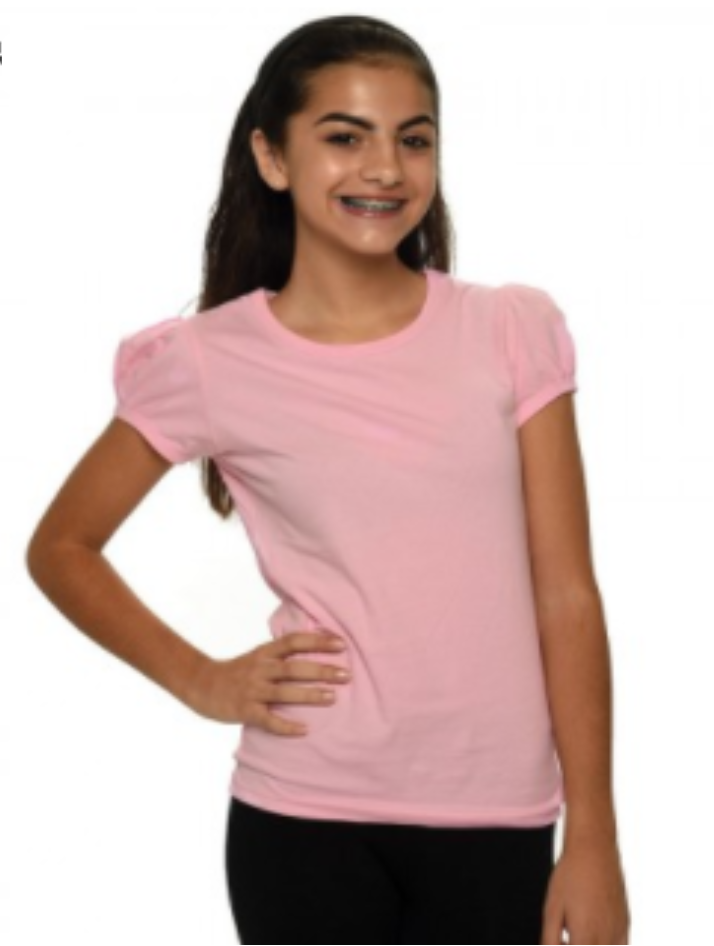 Girls Pleated Short Sleeve Shirt
