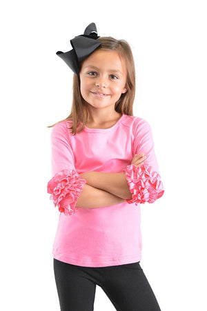 Girls Ruffle Raglan Solid Shirts