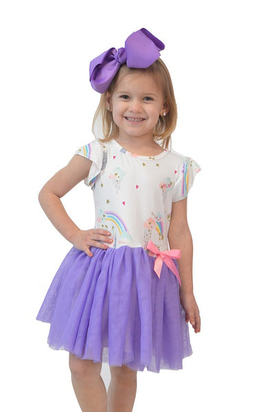 Unicorn Dress with Purple Tulle Skirt