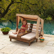 KidKraft Double Chaise Lounge with Cup holders - Espresso Oatmeal [product_type} - Outdoor Furniture and Fittings