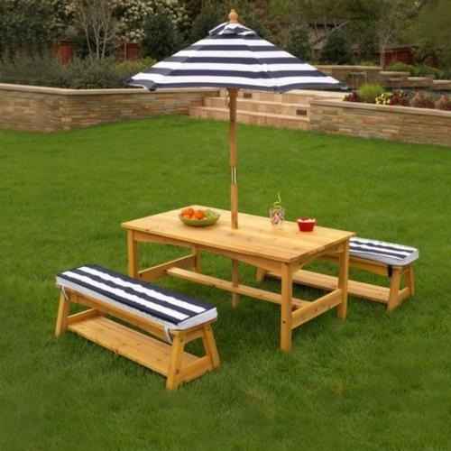 Kid's Outdoor Table & Bench Set With Cushions & Umbrella - Navy & White Stripes [product_type} - Outdoor Furniture and Fittings