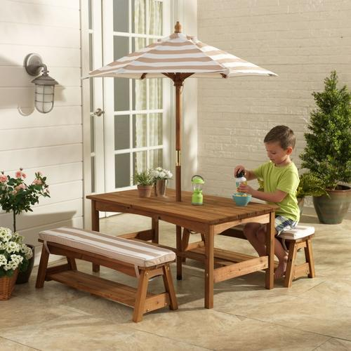 Kid's Outdoor Table & Bench Set With Cushions & Umbrella - Oatmeal & White Stripes [product_type} - Outdoor Furniture and Fittings
