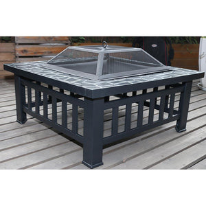 18 Square Metal Fire Pit Outdoor Heater [product_type} - Outdoor Furniture and Fittings